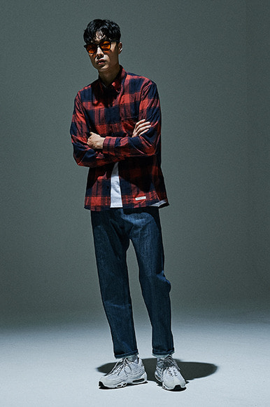 Scratch Plaid Check Shirts [Scarlet]