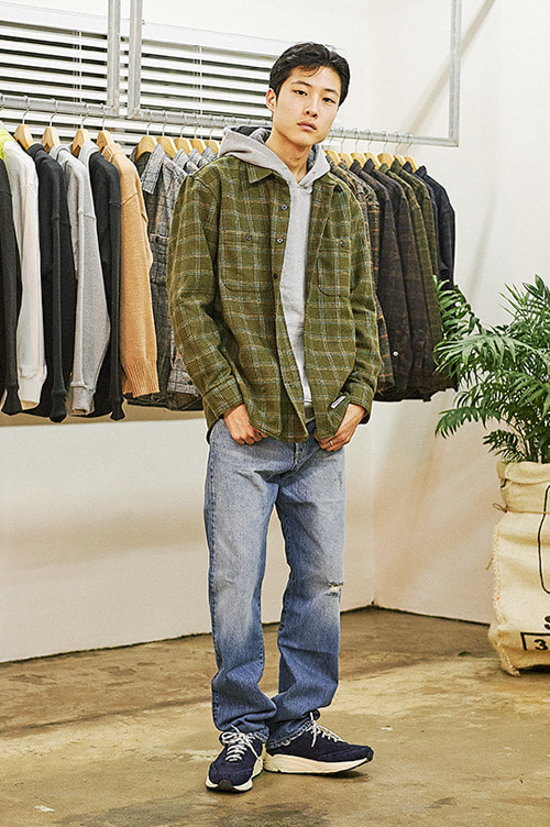 Casual Warm Check Shirts [Khaki]