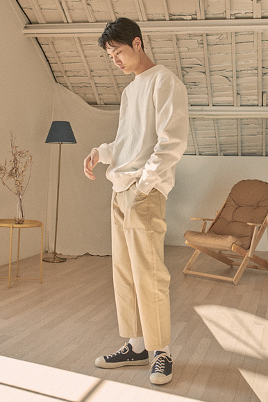 Crop Fatigue Pants [Beige]