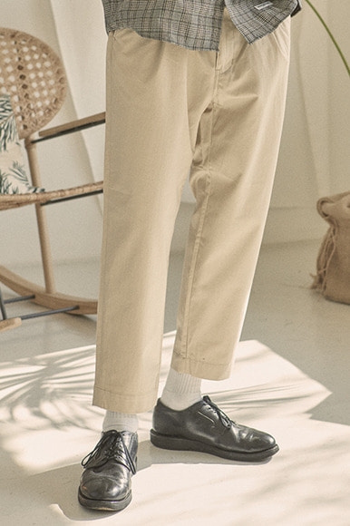 Cotton Slub Set Up Pants [Beige]