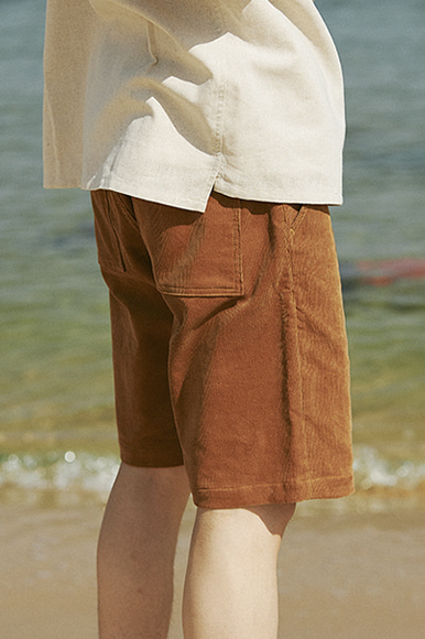 16 Wave One Tuck Corduroy Shorts [Brown]