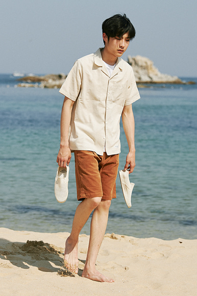 Hawaiian Linen Solid Shirts [Natural]