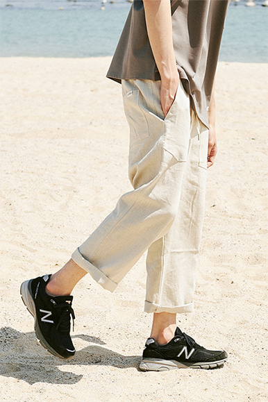 9/L Wide Cut Linen Pants [Natural]