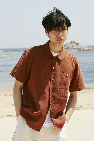 Cupra Open Collar Shirts [Brick Brown]