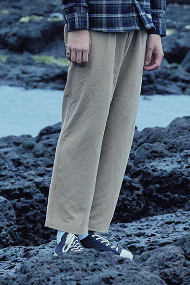 HBT Stripe One Tuck Easy Pants [Beige]