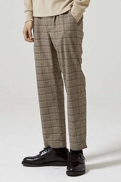 Glen Check One Tuck Easy Pants [Brown]