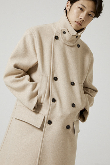 Heavy Wool Pea Coat [Beige]