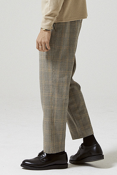 Glen Check One Tuck Easy Pants [Grey]
