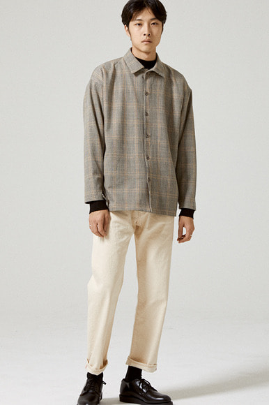 Full Open Glen Check Shirts [Grey]