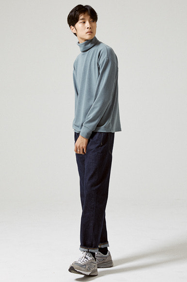 Tencel Turtleneck T-Shirts [Blue Grey]