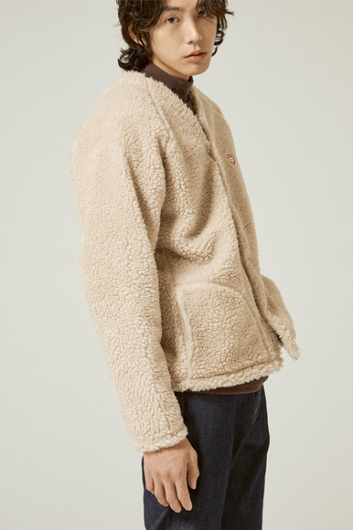 Fleece V Neck Cardigan [Beige]