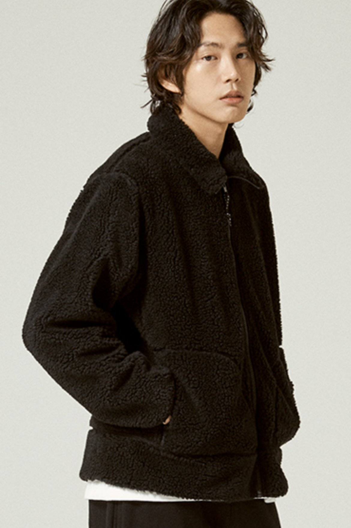 Fleece Zip Up Jacket [Black]