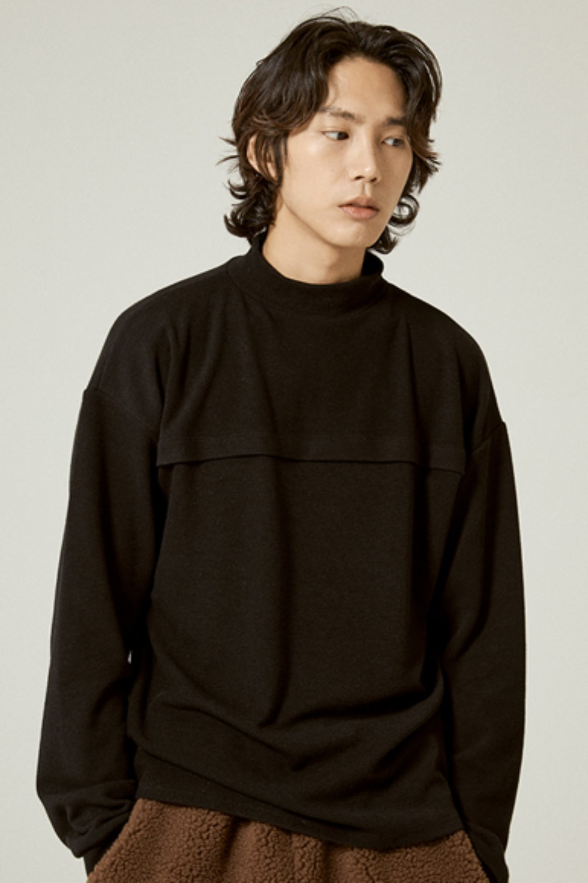 Tencel Mock Neck L/S T-Shirts [Black]