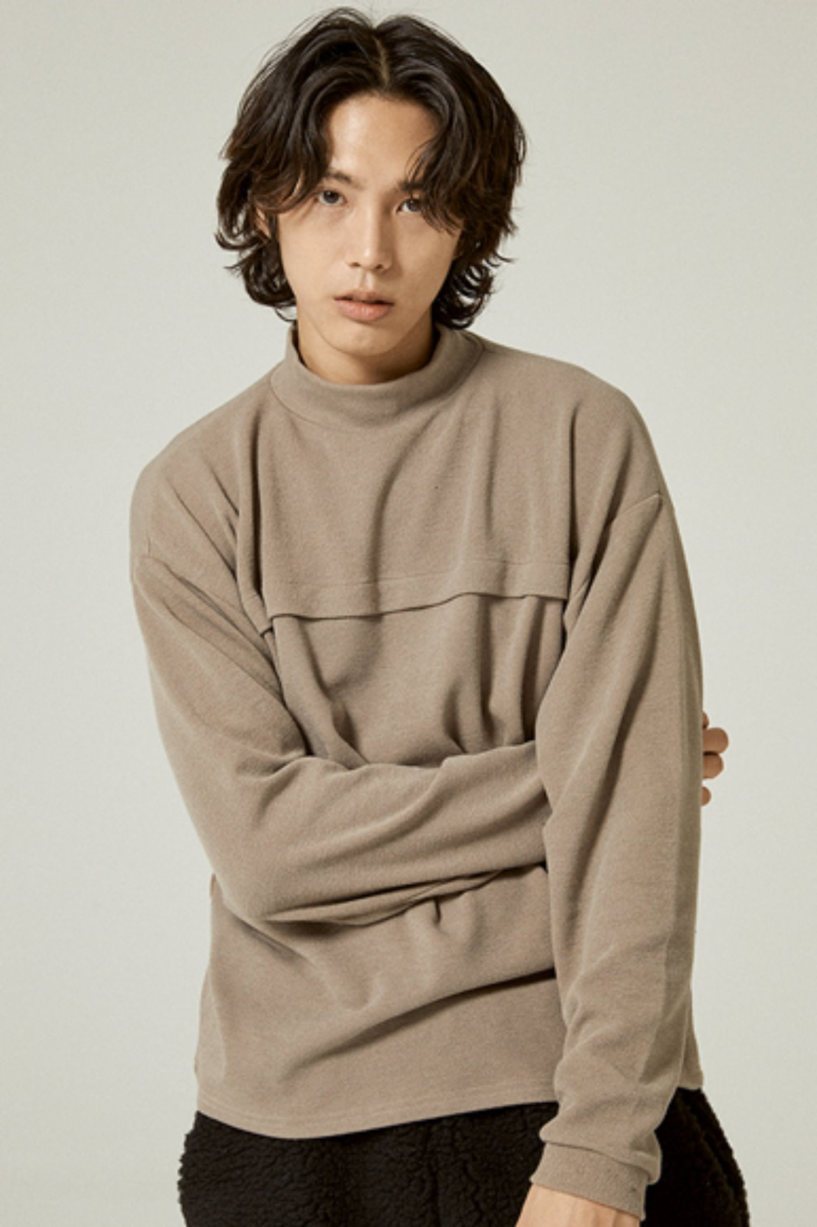 Tencel Mock Neck L/S T-Shirts [Dark Beige]