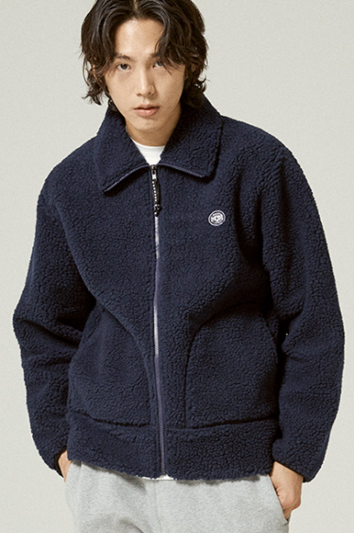 Fleece Zip Up Jacket [Navy]