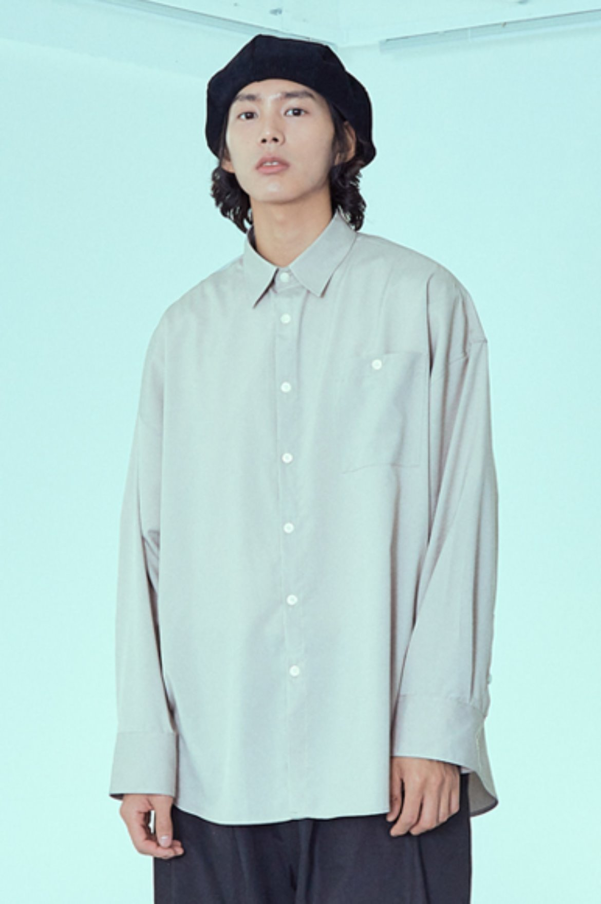 Drape Long Shirts [Beige]