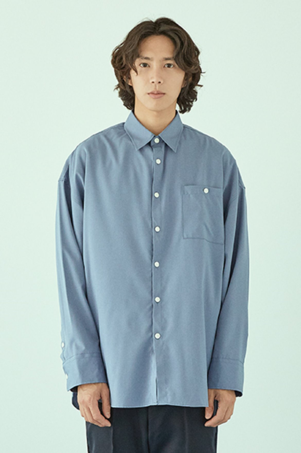 Drape Long Shirts [Blue Grey]