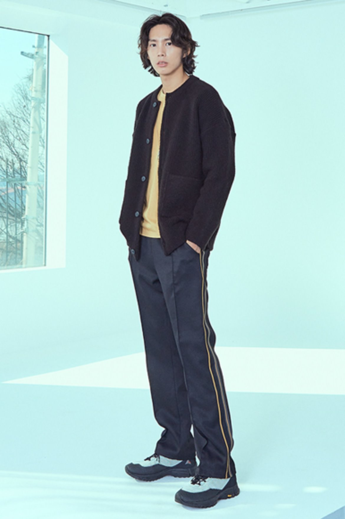 Asymmetry Tape Line Track Pants [Black/Mustard]