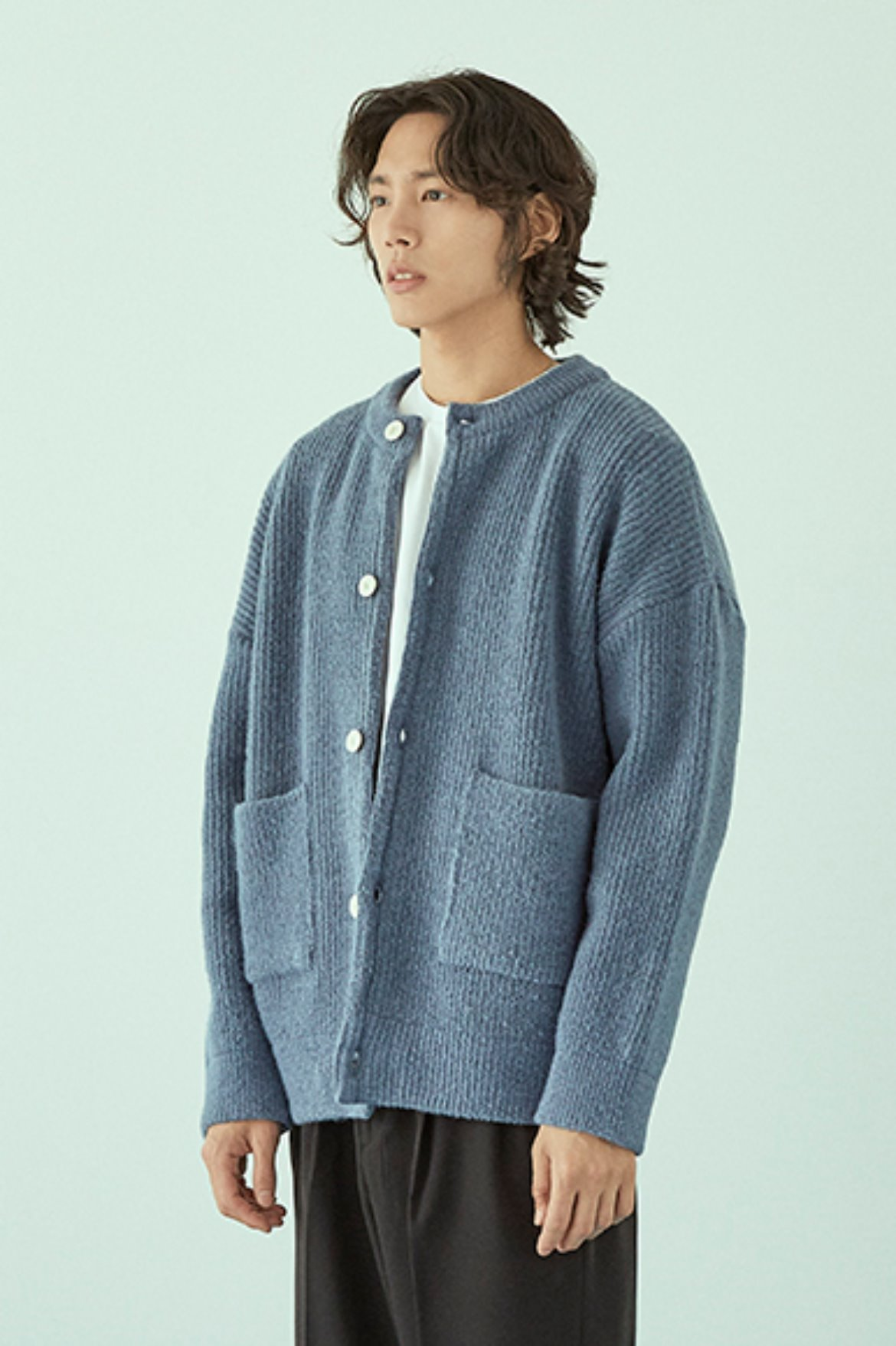 Soft Round Neck Cardigan [Light Blue]