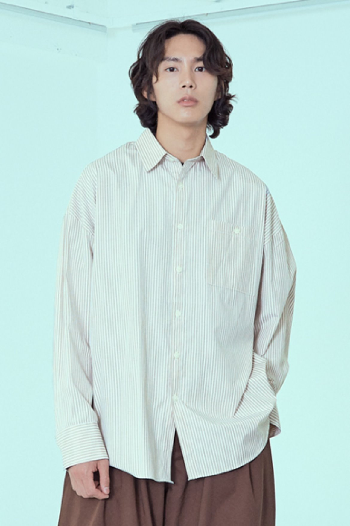 Stripe Drape Long Shirts [Beige]