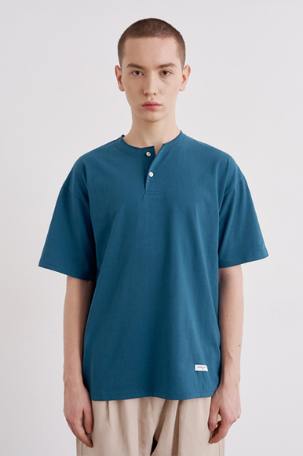 Easy Henry Neck T-Shirts [Teal Green]