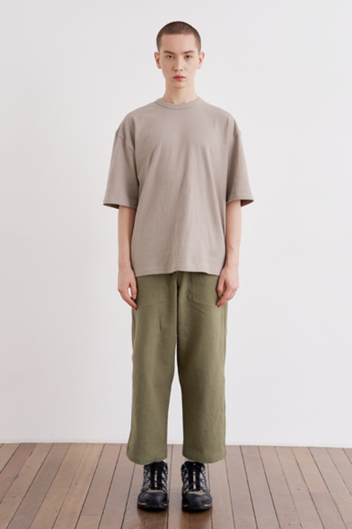 9/L Wide Cut Linen Pants [Khaki]