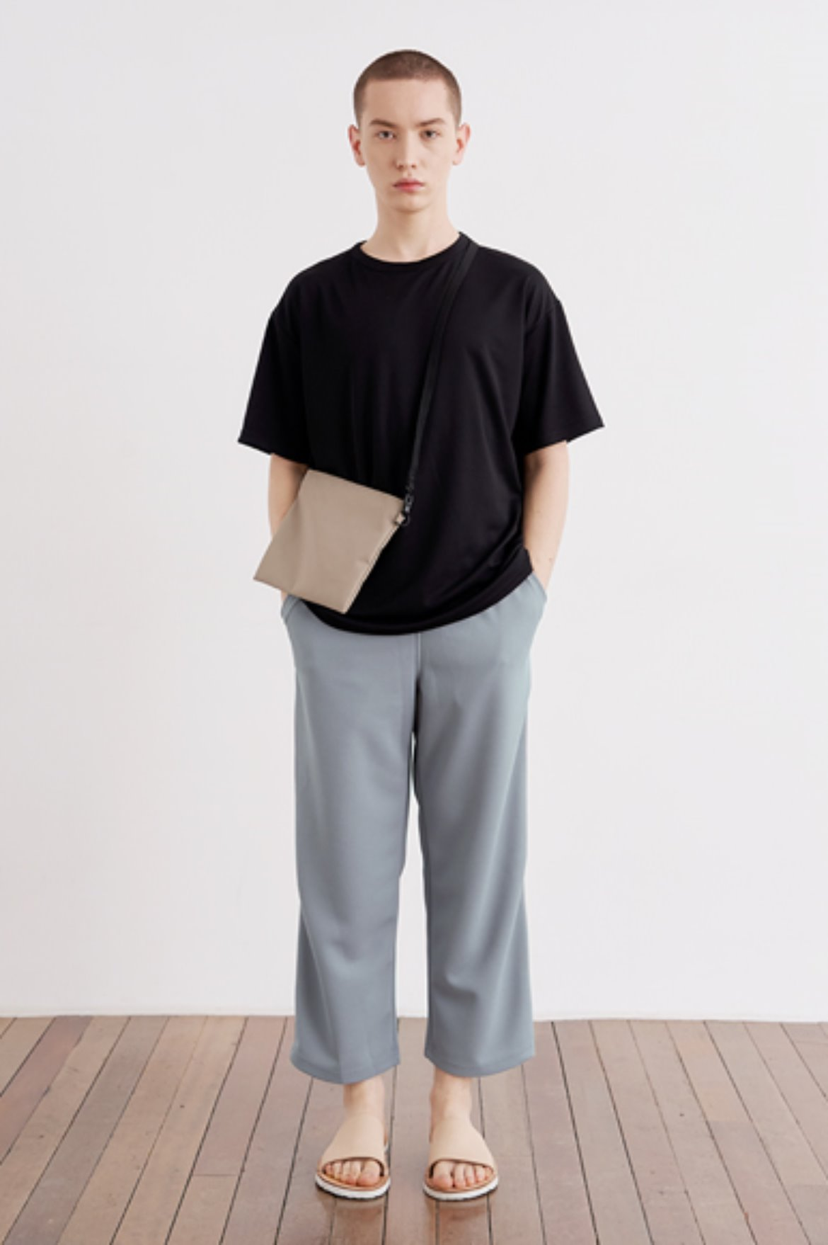 9/L Wide Cut Mesh Pants [Grey]