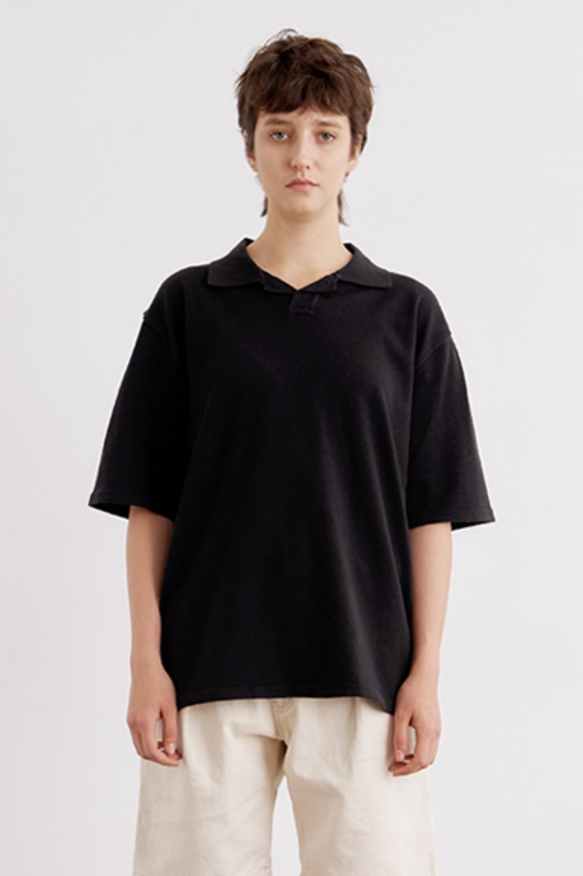 Open PK Knit T-Shirts [Black]