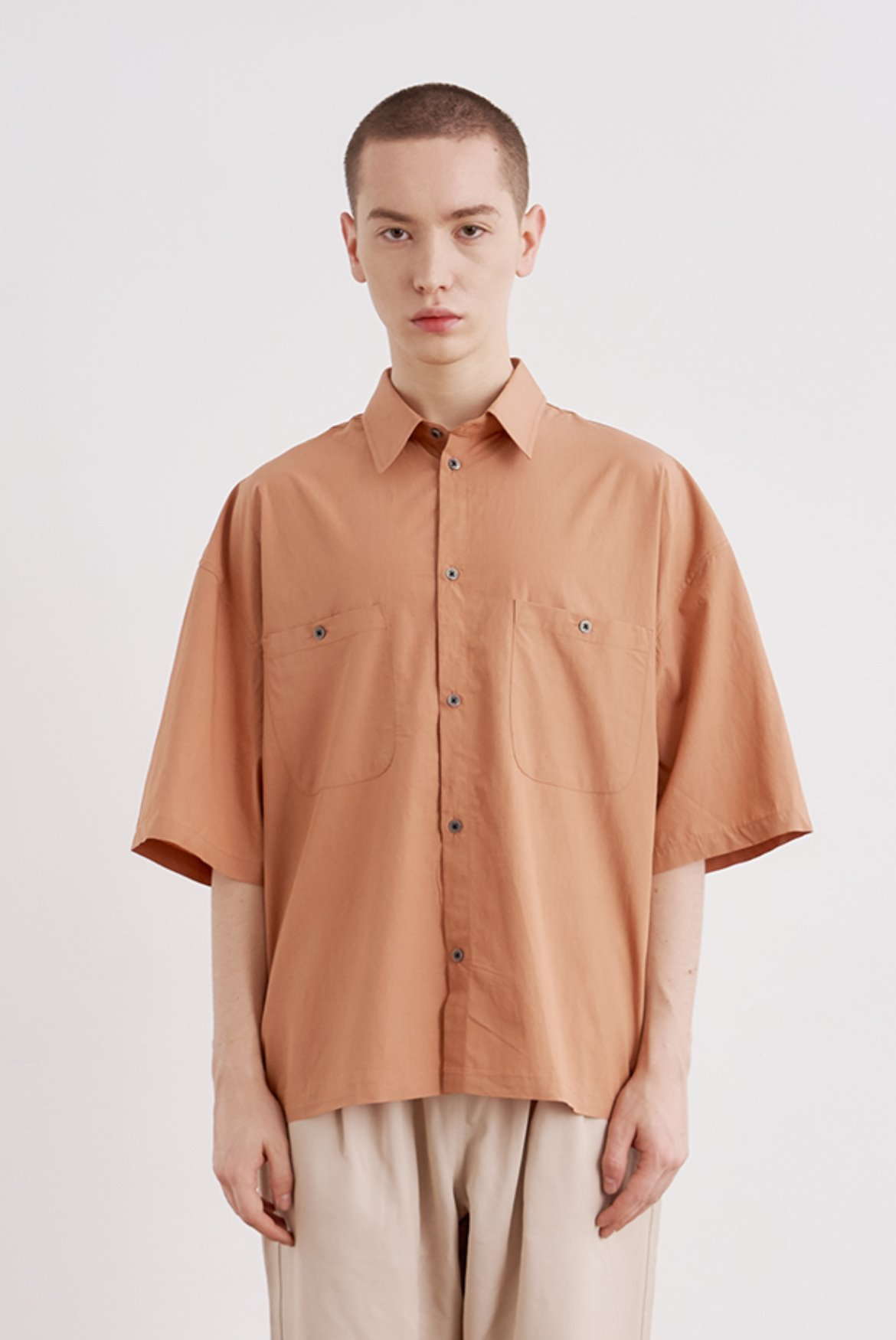 Tencel Crop Shirts [Light Brick]