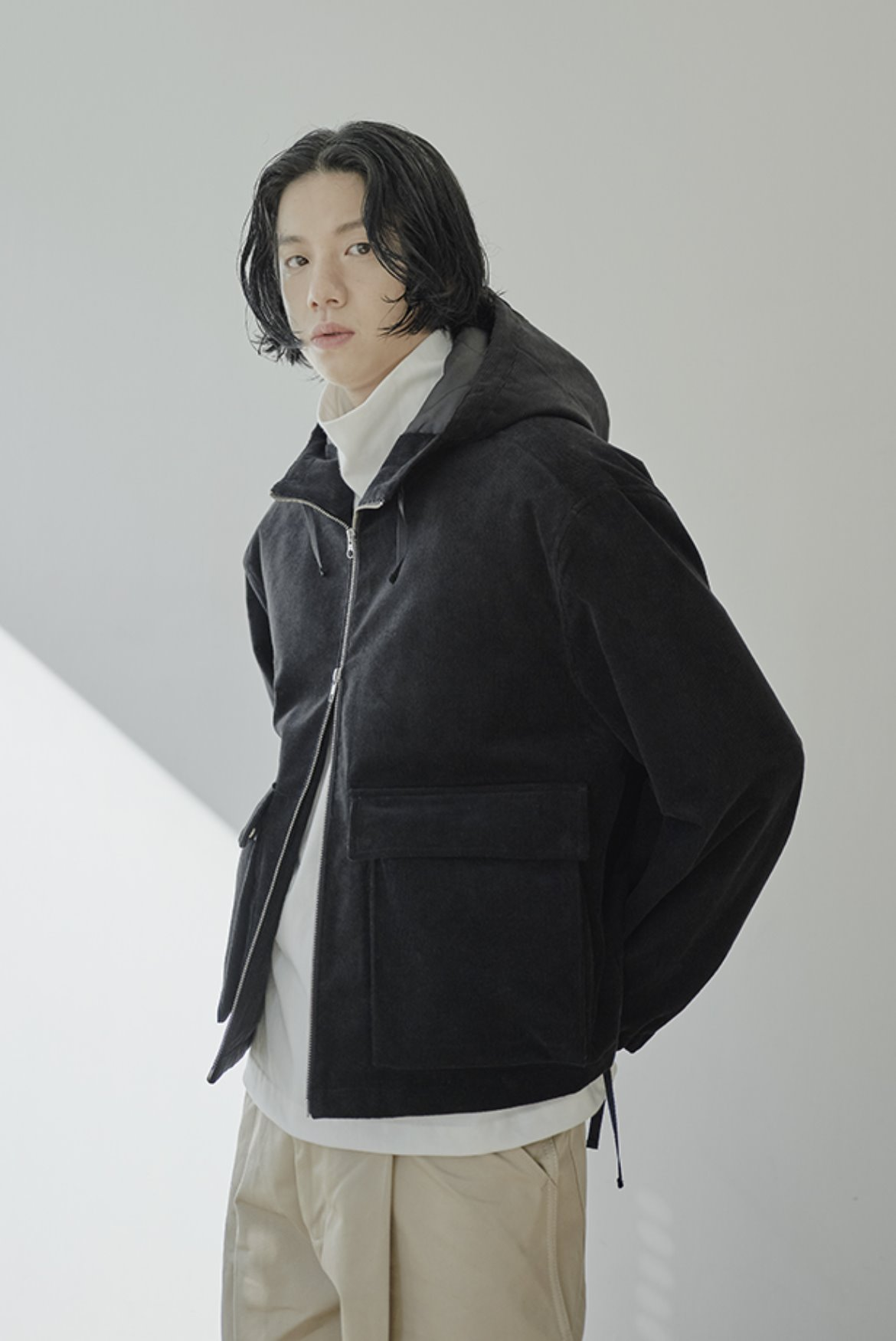 Corduroy Short Field Parka [Black]