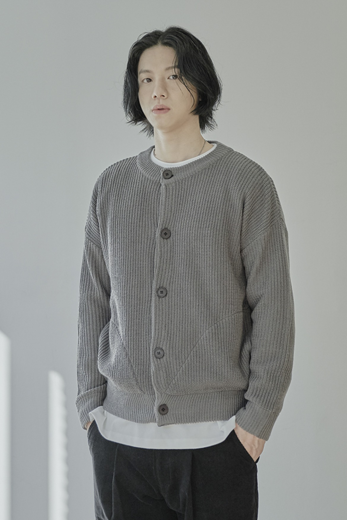 Round Neck Cardigan [Dark Grey]
