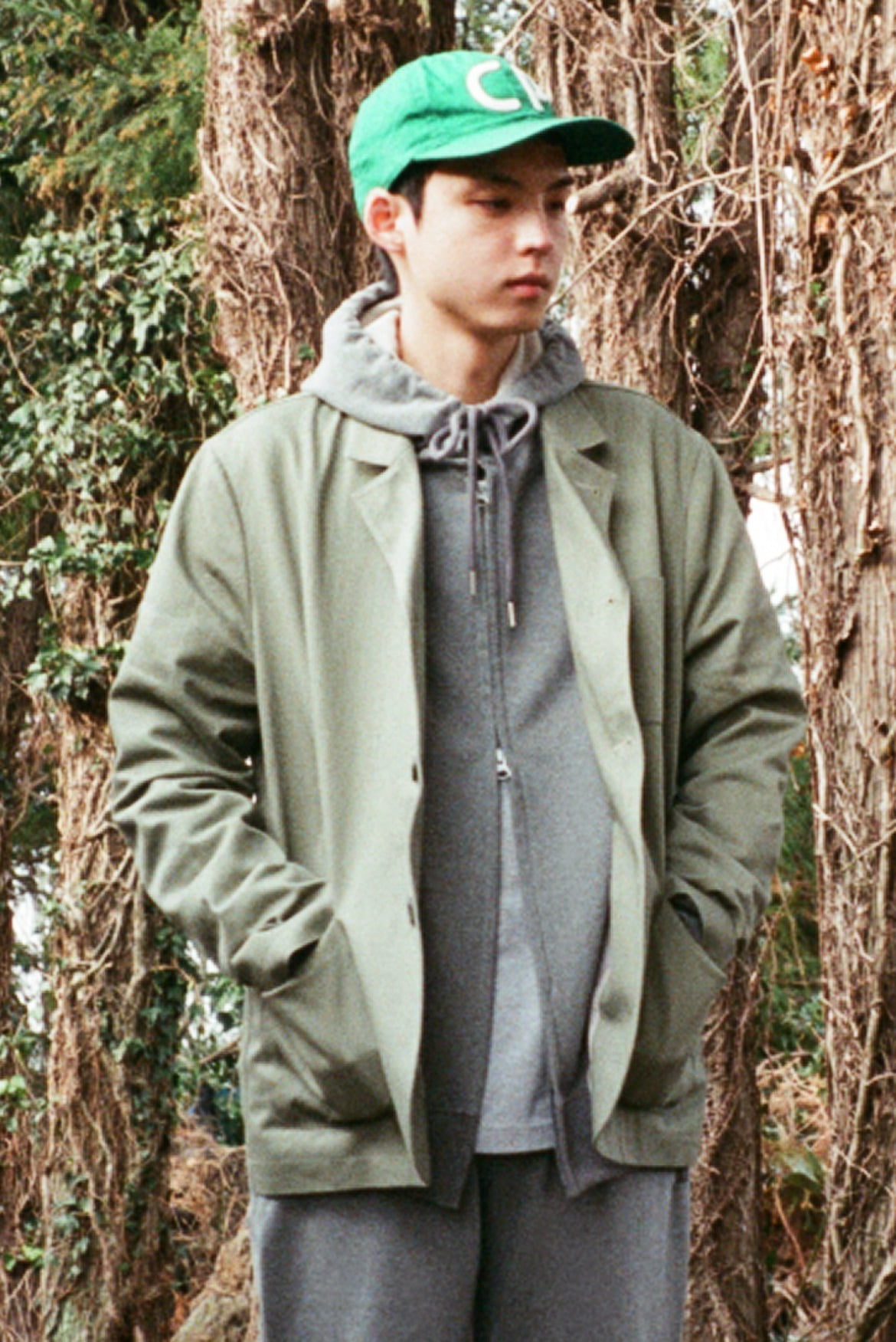 Cotton Slub Three Button Jacket [Khaki]