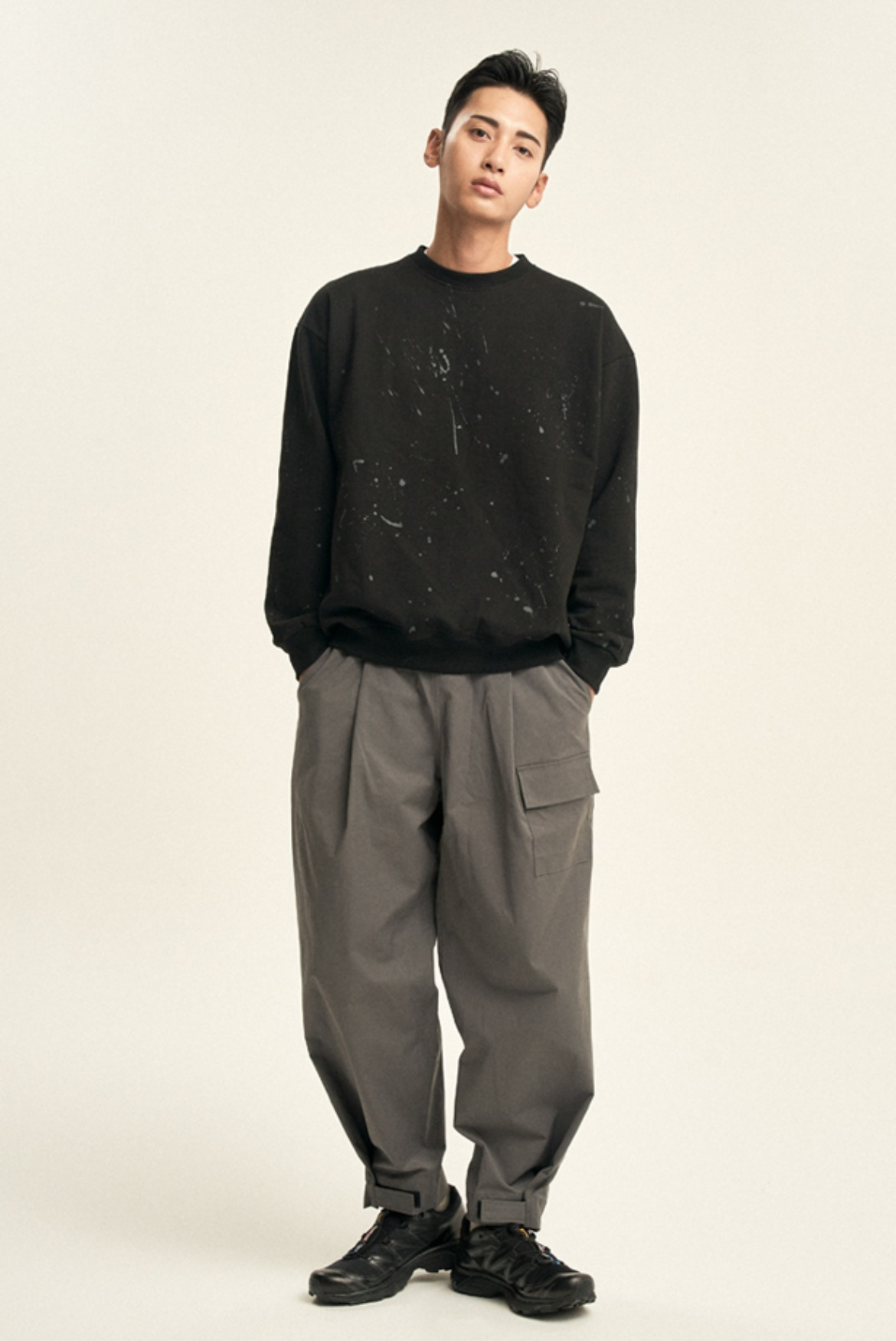 Velcro Wide Deep Tuck Pants [Charcoal]
