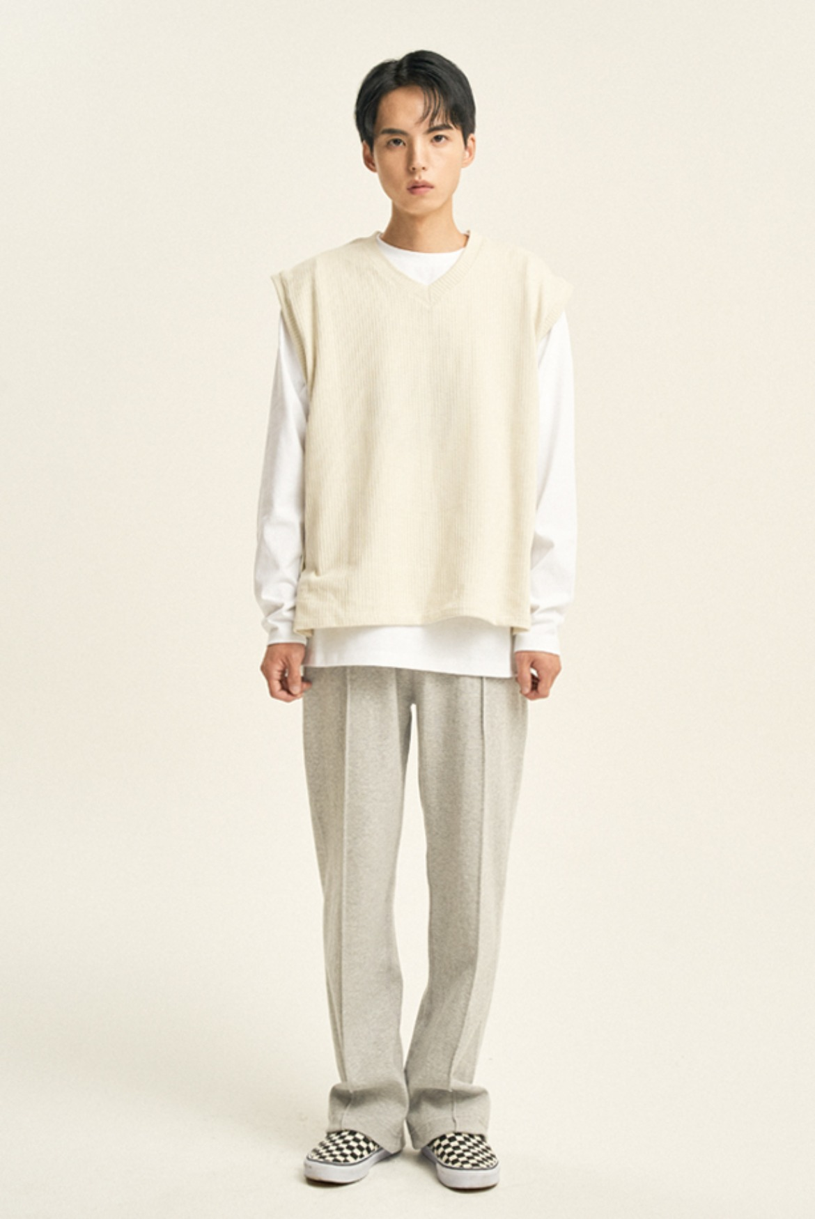 Pin Tuck String Sweat Pants [Grey]