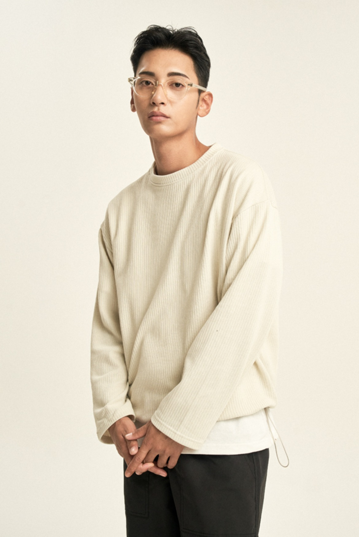 String Ribbed L/S T-Shirts [Deep Ivory]