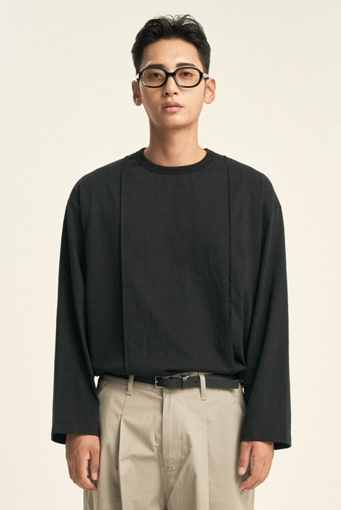 Pin Tuck L/S T-Shirts [Black]