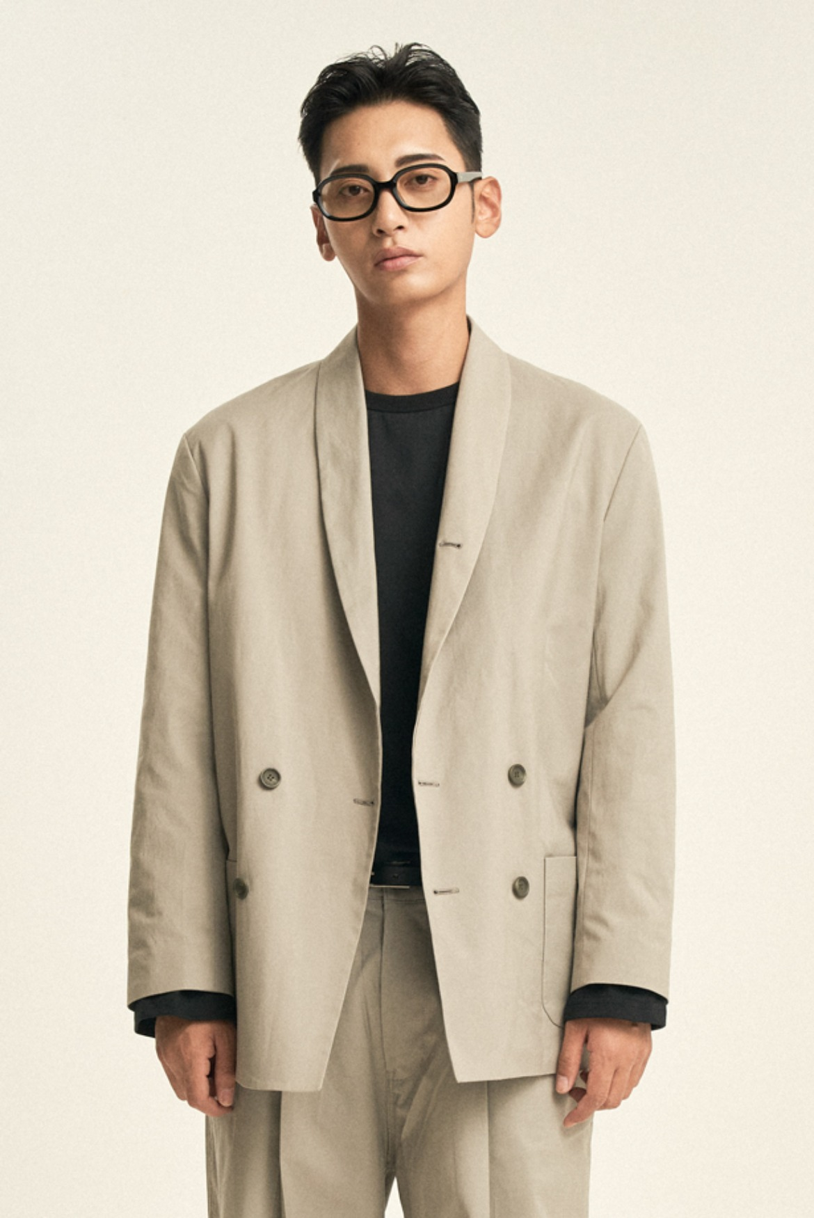 Luster Double Breasted Jacket [Light Grey]