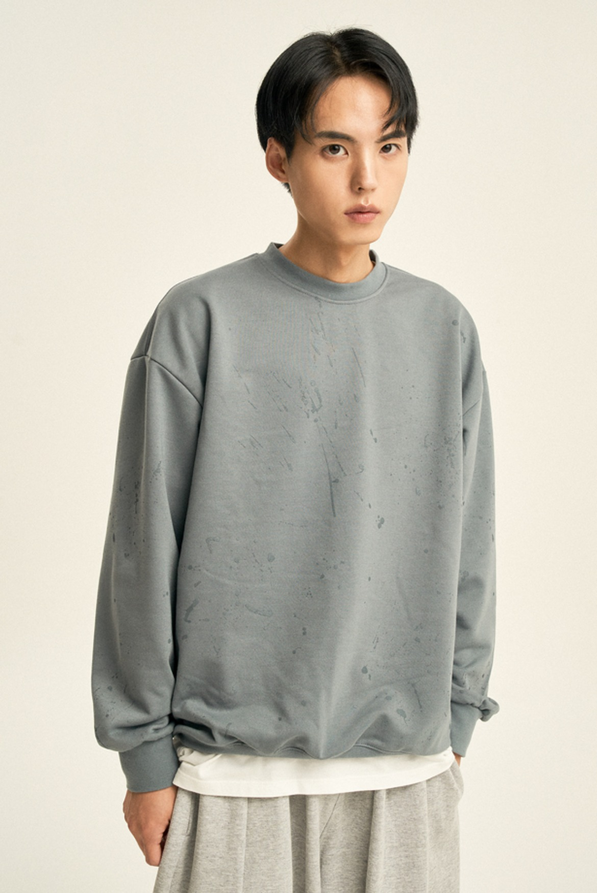 Painting Sweat Shirts [Green Grey]