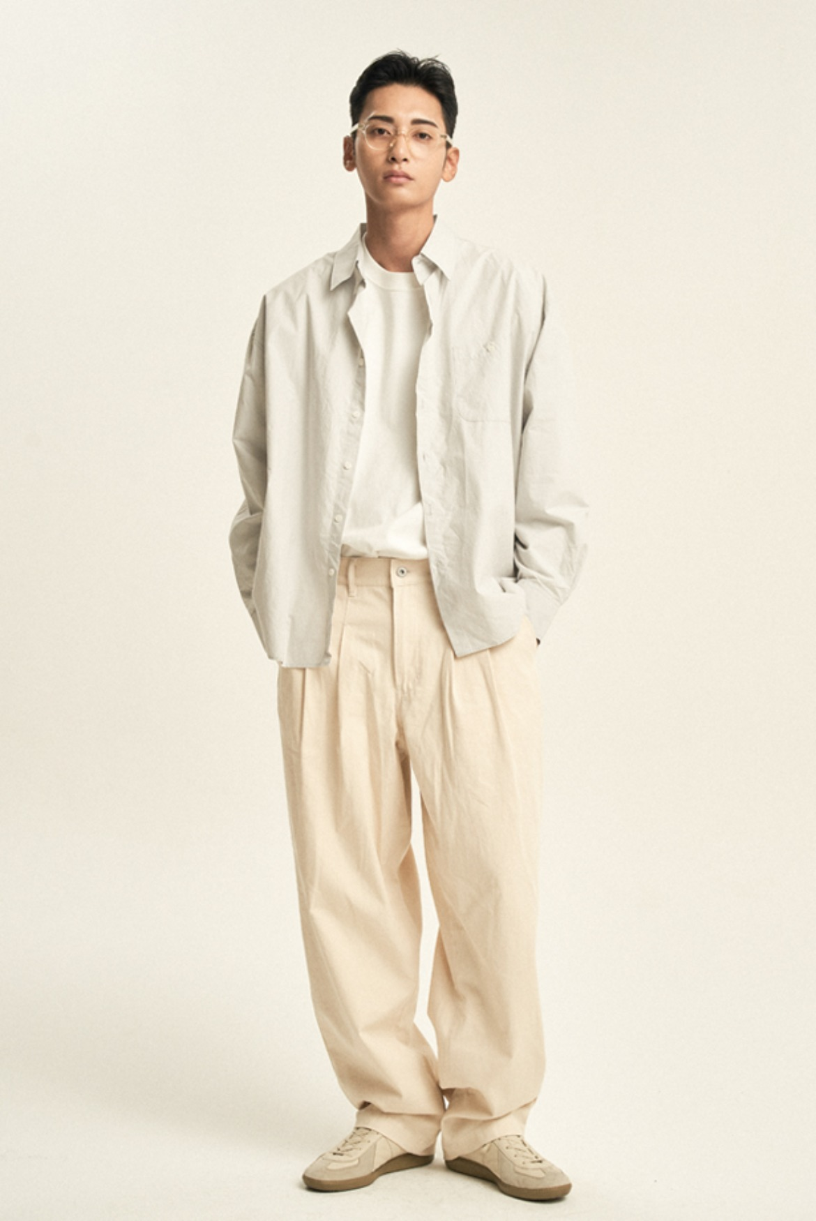 Fixed Two Tuck Cotton Pants [Natural]