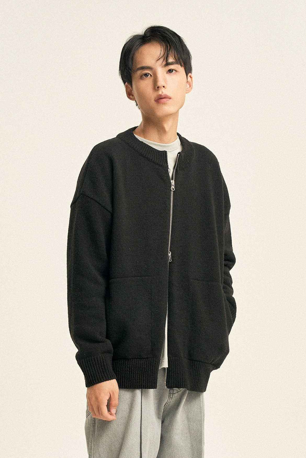 2way Round Neck Cardigan [Black]
