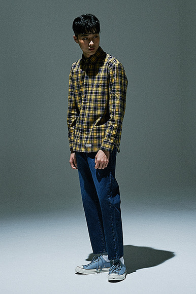 Pale Line Check Shirts [Mustard]