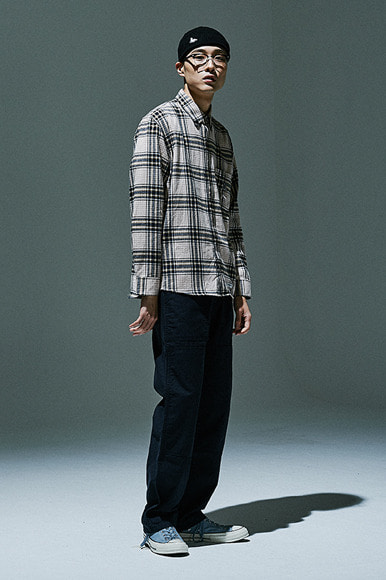 (10월 30일 M, XL사이즈 예약배송) Sealion - Flannel Check Shirts [Ivory]