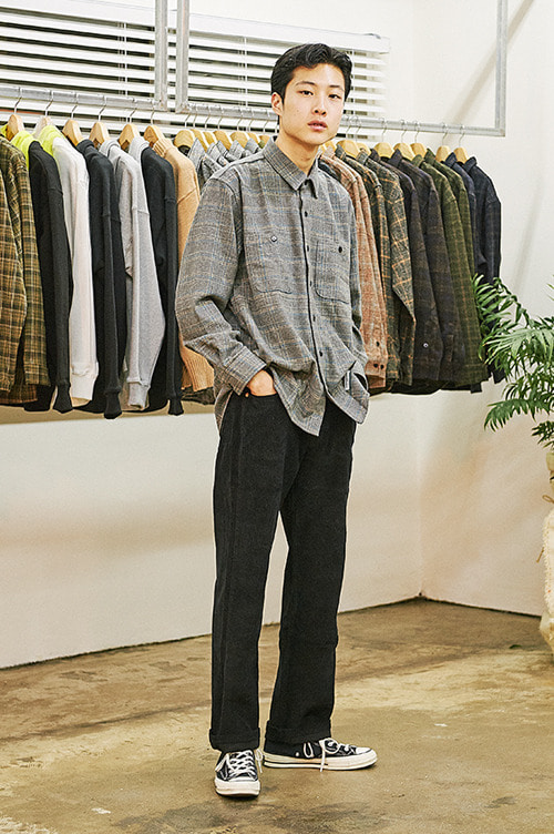 Casual Warm Check Shirts [Grey]