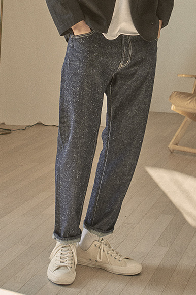 Ankle Cut Nep Denim Pants