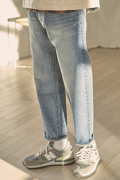 Ankle Cut Standard Denim Pants [Sun Washed]
