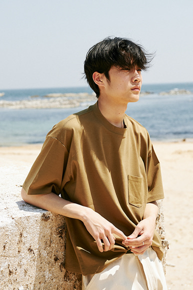 Modal Slant Pocket T-Shirts [Khaki]