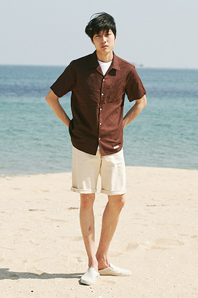 Hawaiian Linen Solid Shirts [Brown]