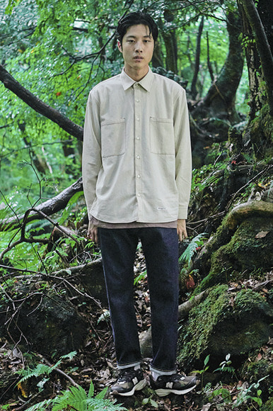 Contrast Stitch Shirts [Natural]