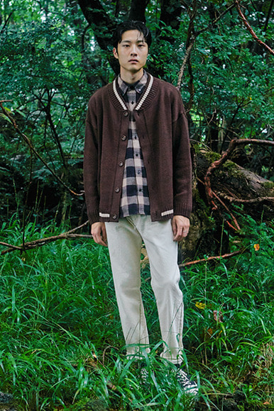 Point Line Cardigan [Brown]
