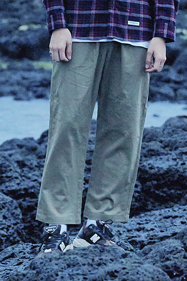 HBT Stripe One Tuck Easy Pants [Khaki]